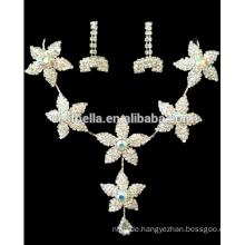 Neue Art- und Weiseblumenkristall-Brauthochzeits-Schmucksache-Satz-Frauen-Luxuxhalsketten-Ohrringe für Partei-Kleid