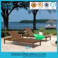 Outdoor Wicker Beds Brown Cane Luxury Rattan Sun Lounger