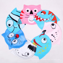 Customized Printed Waterproof Funny Silicone Swimming Cap for Children