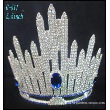 Hochzeit Silber Schmuck Tiara Prinzessin Tiara Große Strass Krone benutzerdefinierte Festzug Krone