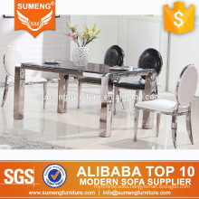 modern black marble top rectangular 4 legs stainless steel dining table