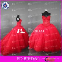 ED Robe de mariée en élasthanne véritable en mousseline de soie Robe en robe en tulle rouge en faïence