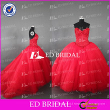 ED Bridal Real Sample Sweetheart Beaded Bodice Ball Gown Red Tulle Quinceanera Dresses