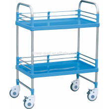 Two Shelves Medical ABS Steel Hospital Trolley