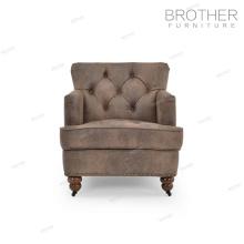 Meubles d'ameublement moderne en bois cadre unique siège lving chambre tissu canapé chaise d'appoint