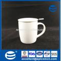 Обычная белая пустая керамическая новая косточка Китай чашка чая кружки кофе с сетчатым фильтром с крышкой