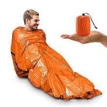 Portable waterproof lightweight Emergency Survival Sleeping Bag with whistle Thermal Bivy Sack Blanket for Camping Hiking