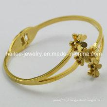 Moda jóias pulseira de aço inoxidável pulseira pulseira de flores