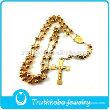 European Wholesale Newest Desgin IP Gold ChristJewelry Stainless Steel RosaryJesus Bead Necklace Cross Virgin Mary Charm