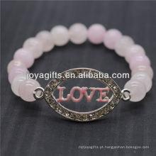 Diamante Love Logo com 8MM Pulseira de estiramento de pedras semi preciosas
