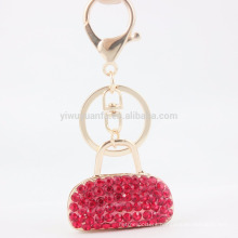 AOU Fashion rhinestone bag gold plated keychain