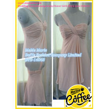 Chiffon One Shoulder Short Length Ruffles Vestido de noiva Cut Mermaid Evening Dresses BYE-14068