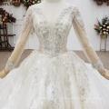 Jancember HTL1543 Real Photo Deep V Neck Beading Sequin Long Wedding Dress