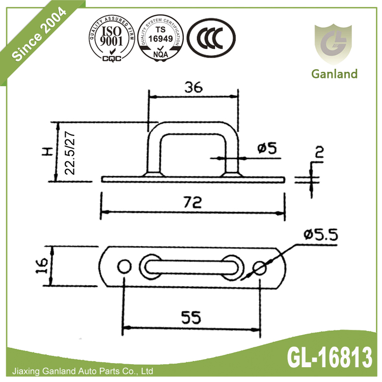 Gate Staple Catch on Plate GL-16813