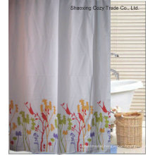 Simple Flower Design Polyester Shower Curtain