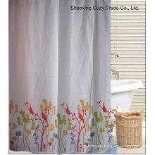 Simple Flower Design Polyester Shower Curtain