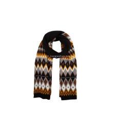Écharpe d'hiver tricotée en jacquard à losanges pour femmes