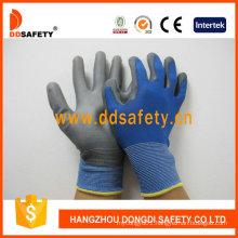 Blue Nylon and Polyester Liner Grey PU Gloves Dpu167