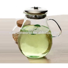 Hand Blown Large Crystal Glass Water Jug With Stainless Steel Lid