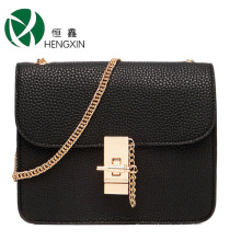 Woman Chain Bag with Metal Lock with Lichee Pattern