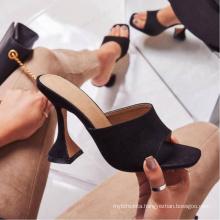 New Design Lady High Heel Slippers Special Heel Slide Slipper for Woman