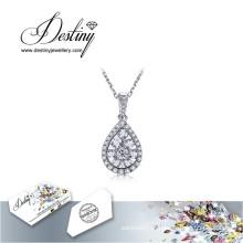 Destino joias cristal de Swarovski colar pingente de gota