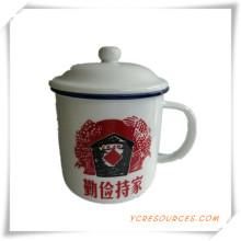 Regalos de la promoción para la taza de porcelana blanca tazas con Logo Ha08005