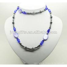Envoltório de hematita moda com contas de cristal azul