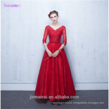 Vintage Prom Dresses Half Sleeves High Quality Lace And Tulle Corset Lace Up Back V Neck Red Long Prom Gown