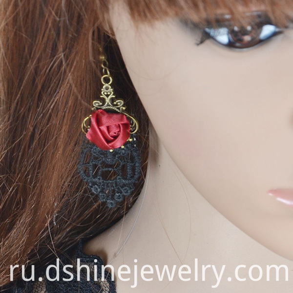 Rose Alloy Lace Hook Earring