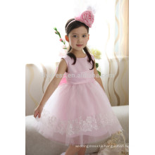 Customized Pink Scalloped Big Bow Back Lace Appliqued Skirt Flower Girl Dress FGZ25 Kids Clothes