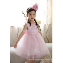 Подгонянный розовый волнистый бант спина кружева аппликация юбка платье девушки цветка FGZ25 детская одежда