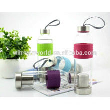 Promotional Sealed Heat-resisting Stainless Steel Lid Glass Water Bottle Infuser