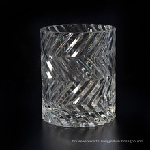Straight Shaped Candle Vessel with Embossed Pattern