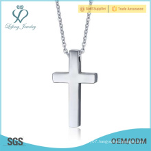 Plain silver crucifix pendant,unisex christian pendant jewelry