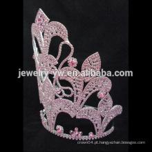 Moda projetado cristal pageant prata coroa