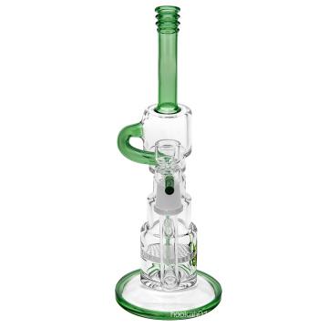 Vidro Recycler Bubbler Tubulações de água com câmara de reciclo de dois tubos (ES-GB-369)