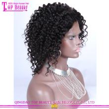 Горячие продажи короткие афро кудрявый кружева парики человеческих волос 6а класс афро короткие парики для чернокожих женщин