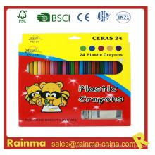 24 PCS Farbe Plstic Crayon mit Sharpener und Radiergummi