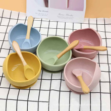 Amazon Microwave Safe Marble Lid Bpa Free Kid Travel Snack Food Rice Soup Feeding Silicone Suction Spoon Set Baby Silicon Bowl