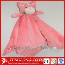 Suave y rosa casa gato felpa manta de bebé