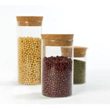 Clear Airtight Borosilicate Glass Jar Container With Cork Lid