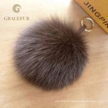 Llavero de alta calidad de la bola de la piel del pom pom del zorro del monedero