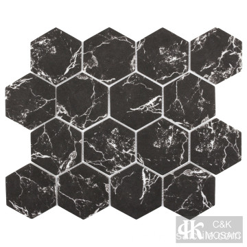 Grand carreau de verre hexagonal recyclé en marbre noir