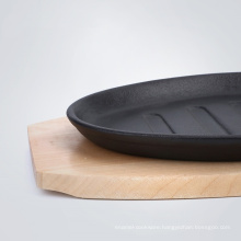 Wood Tray Fajita/Sizzler/Steak Pan Cast Iron Sizzling Plate