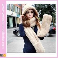 Der neue Lammwolle 3in1 Winter Schal mit Kapuze und Handschuhe (66420)