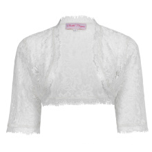 Belle Poque Womens Ladies Wedding Bridal Bridesmaid 3/4 Sleeve White Lace Shrug Bolero BP000319-2