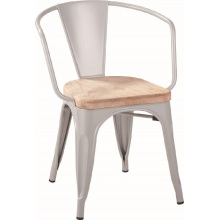 Restaurant Metal Tolix Arm Chair with wood seat