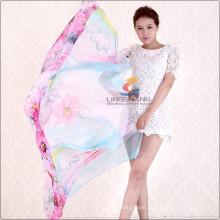 Lingshang New design lady Wrap Chiffon flower print scarf Long style shawl scarves