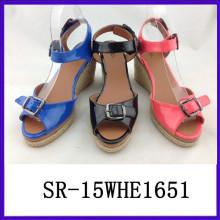 Sandalia europea de la PU de las sandalias de la PU de las señoras de las sandalias de las señoras de la sandalia de las mujeres de Lastest
